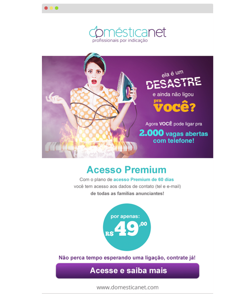 Domesticanet - E-mail Marketing - Campanha para domésticas