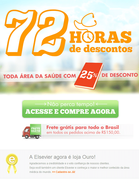 "Campagne d'E-Mail Marketing ""72 horas de Descontos"" - Elsevier"
