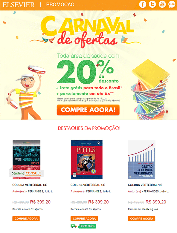 "Campagne d'E-Mail Marketing ""Carnaval de Ofertas"" - Elsevier"